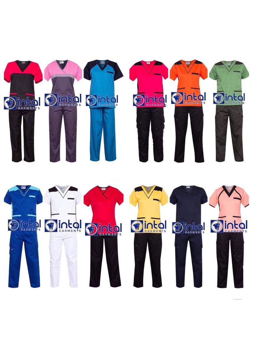 Pink color Tops and Tunics . SCRUB SUIT Medical Doctor Nurse Uniform High Quality Made SS013 Polycotton JOGGER PANTS by Intal Garments Color Rose Pink-Midnight Blue -