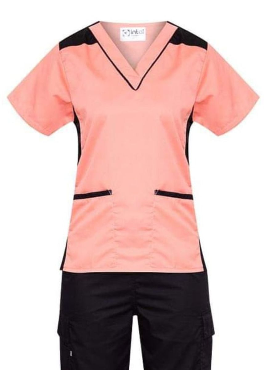 Black color Tops and Tunics . SCRUB SUIT Medical Doctor Nurse Uniform High Quality Made SS09 Polycotton CARGO PANTS by Intal Garments Color Peach-Black -