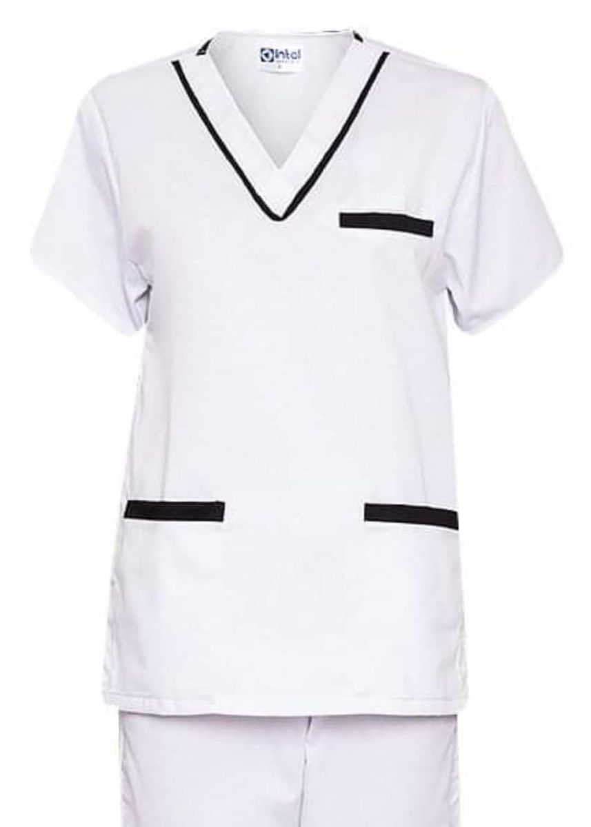 White color Tops and Tunics . SCRUB SUIT Medical Doctor Nurse Uniform High Quality Made SS02 Polycotton by Intal Garments Color White-Black -
