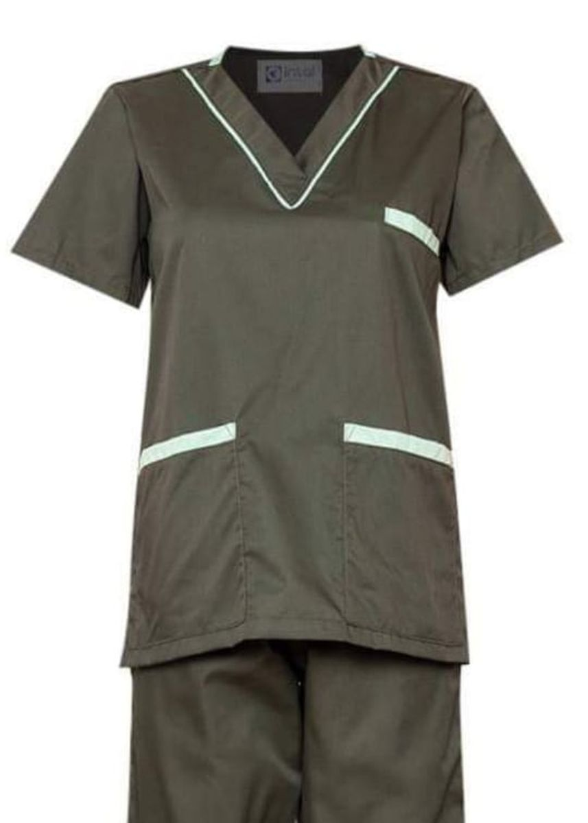 Green color Tops and Tunics . SCRUB SUIT Medical Doctor Nurse Uniform High Quality Made SS02 Polycotton by Intal Garments Color Army Green - Sage Green -