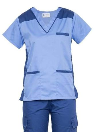 Blue color Tops and Tunics . SCRUB SUIT Medical Doctor Nurse Uniform High Quality Made SS09 Polycotton CARGO PANTS by Intal Garments Color Powder Blue-Oxford Blue -
