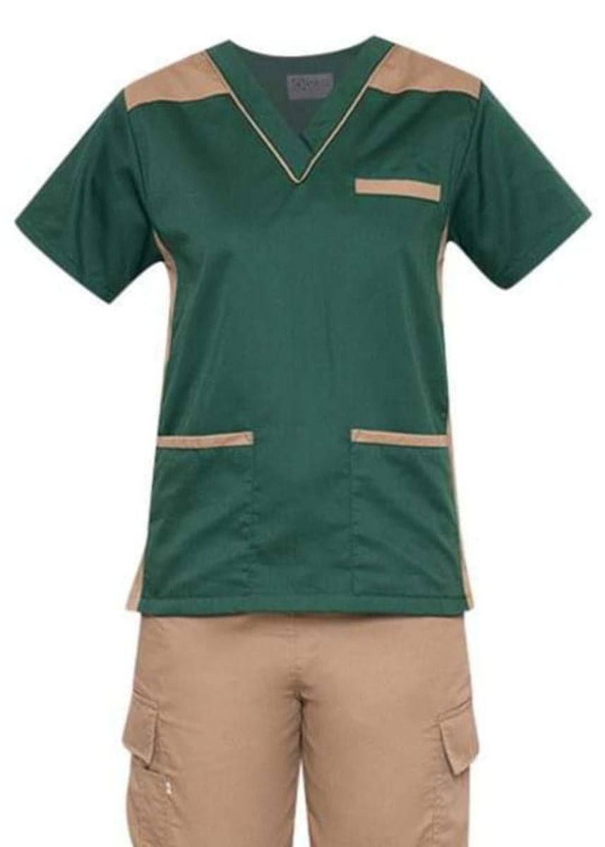 Green color Tops and Tunics . SCRUB SUIT Medical Doctor Nurse Uniform High Quality Made SS09 Polycotton CARGO PANTS by Intal Garments Color Forest Green-Tortilla Brown -