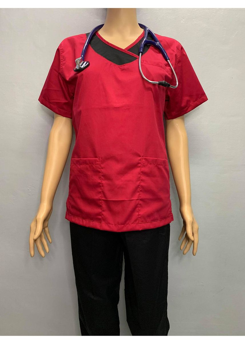 Red color Tops and Tunics . SCRUB SUIT Medical Doctor Nurse Uniform JOGGER Pants High Quality Made SS14 Polycotton by Intal Garments Color Red Black -