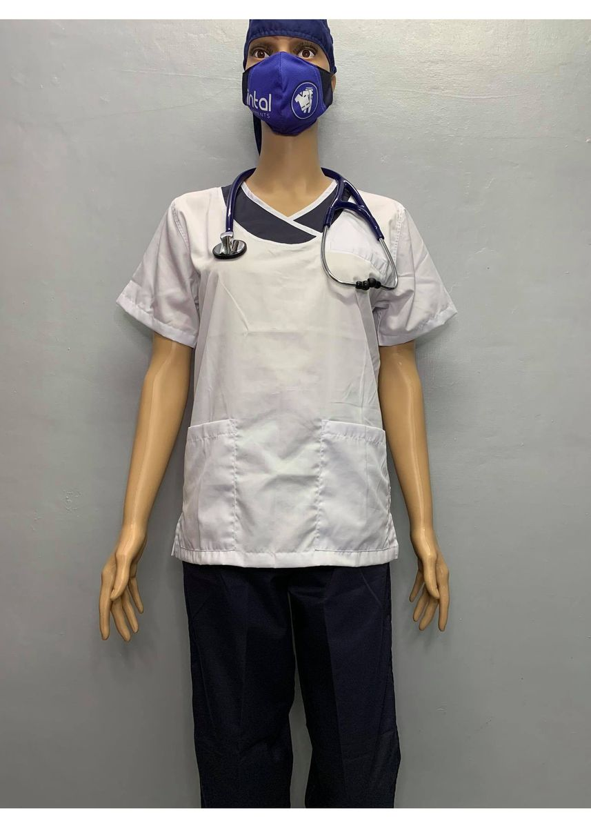White color Tops and Tunics . SCRUB SUIT Medical Doctor Nurse Uniform JOGGER Pants High Quality Made SS14 Polycotton by Intal Garments Color White Black -