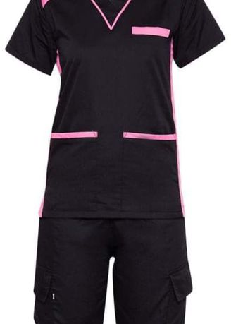 Black color Tops and Tunics . SCRUB SUIT Medical Doctor Nurse Uniform High Quality Made SS09 Polycotton CARGO PANTS by Intal Garments Color Black-Pink -