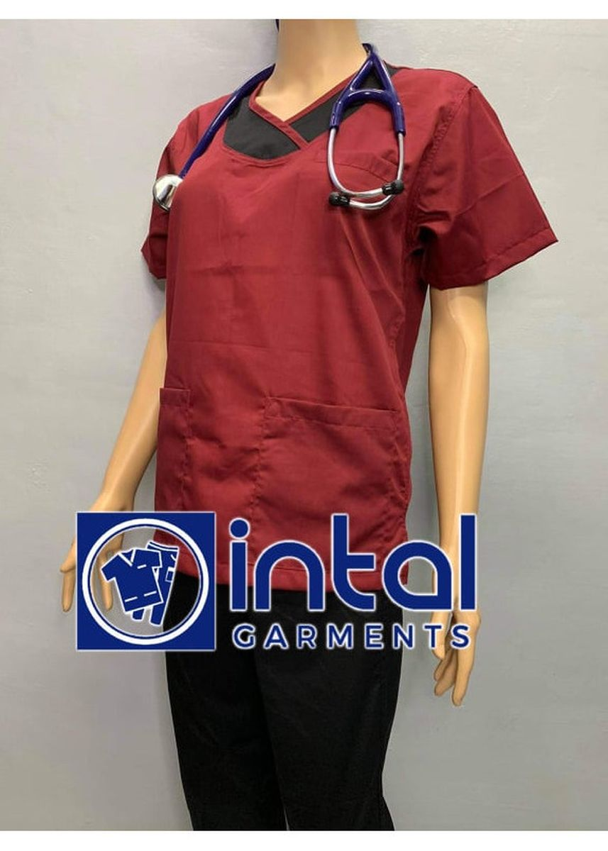 Maroon color Tops and Tunics . SCRUB SUIT Medical Doctor Nurse Uniform High Quality Made SS014 Polycotton by Intal Garments Color Maroon-Black -
