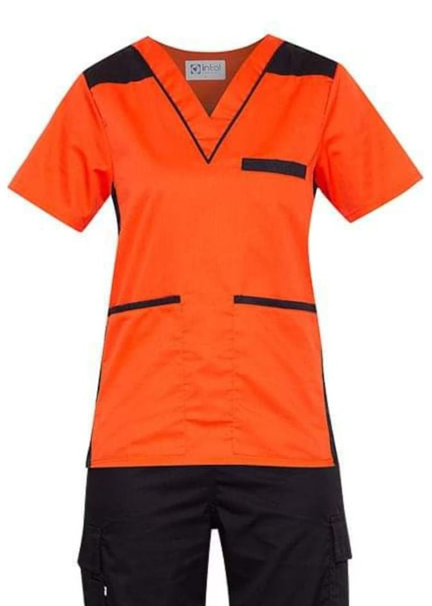 Orange color Tops and Tunics . SCRUB SUIT Medical Doctor Nurse Uniform High Quality Made SS09 Polycotton CARGO PANTS by Intal Garments Color Orange-Black -