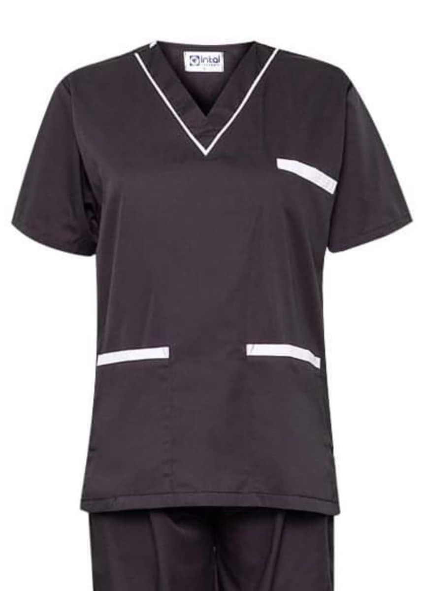 Grey color Tops and Tunics . SCRUB SUIT Medical Doctor Nurse Uniform High Quality Made SS02 Polycotton by Intal Garments Color Charcoal Grey - White -