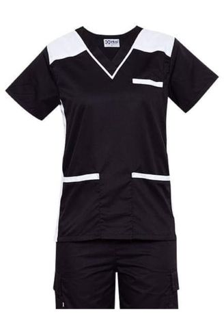 Black color Tops and Tunics . SCRUB SUIT Medical Doctor Nurse Uniform High Quality Made SS09 Polycotton CARGO PANTS by Intal Garments Color Black-White -