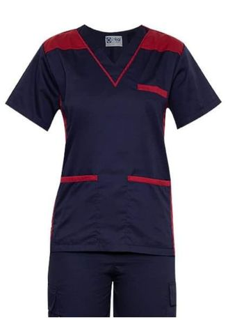 Blue color Tops and Tunics . SCRUB SUIT Medical Doctor Nurse Uniform High Quality Made SS09 Polycotton CARGO PANTS by Intal Garments Color Midnight Blue-Maroon -