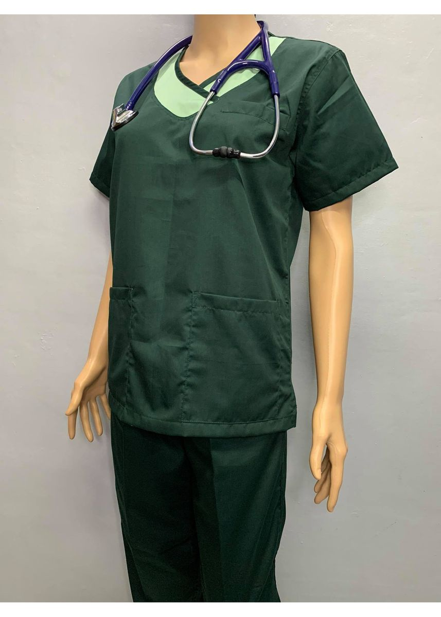 Green color Tops and Tunics . SCRUB SUIT Medical Doctor Nurse Uniform JOGGER Pants High Quality Made SS14 Polycotton by Intal Garments Color Forest Green -
