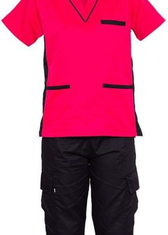Red color Tops and Tunics . SCRUB SUIT Medical Doctor Nurse Uniform SS09 CARGO 4-Pocket Pants High Quality Made Polycotton Fabric by Intal Garments Color Black Fuchsia -