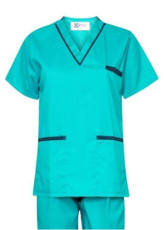Blue color Tops and Tunics . SCRUB SUIT Medical Doctor Nurse Uniform High Quality Made SS02 Polycotton by Intal Garments Color Aqua Blue-Teal Blue -