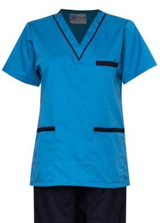 Blue color Tops and Tunics . SCRUB SUIT Medical Doctor Nurse Uniform High Quality Made SS02 Polycotton by Intal Garments Color Sapphire Blue-Midnight Blue -