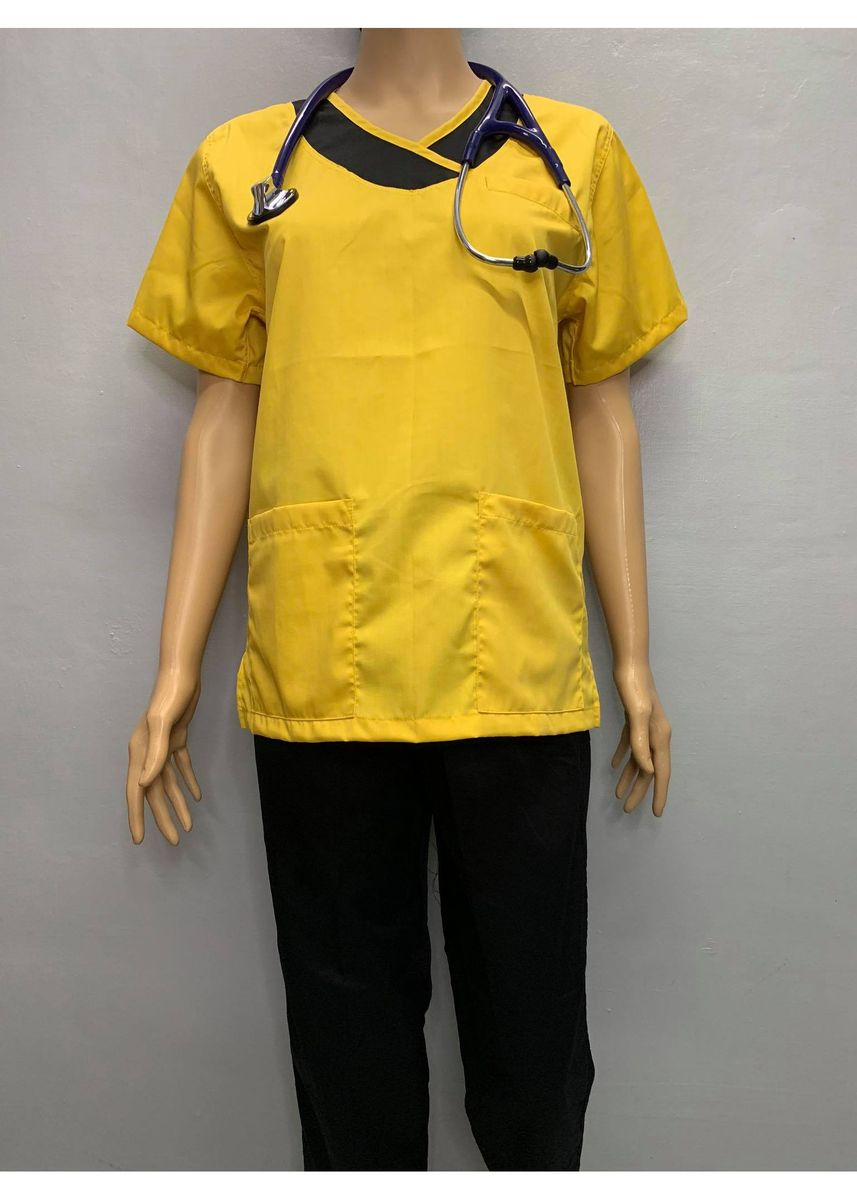 Yellow color Tops and Tunics . SCRUB SUIT Medical Doctor Nurse Uniform JOGGER Pants High Quality Made SS14 Polycotton by Intal Garments Color Yellow Black -