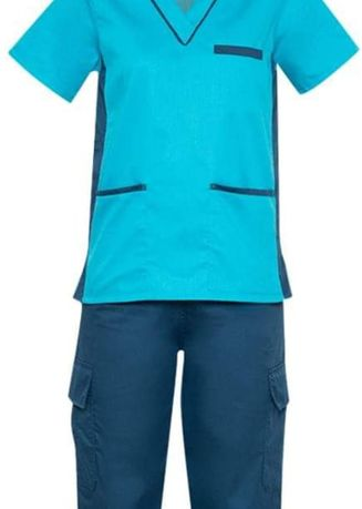 Blue color Tops and Tunics . SCRUB SUIT Medical Doctor Nurse Uniform SS09 CARGO 4-Pocket Pants High Quality Made Polycotton Fabric by Intal Garments Color Aqua Blue Teal Blue -