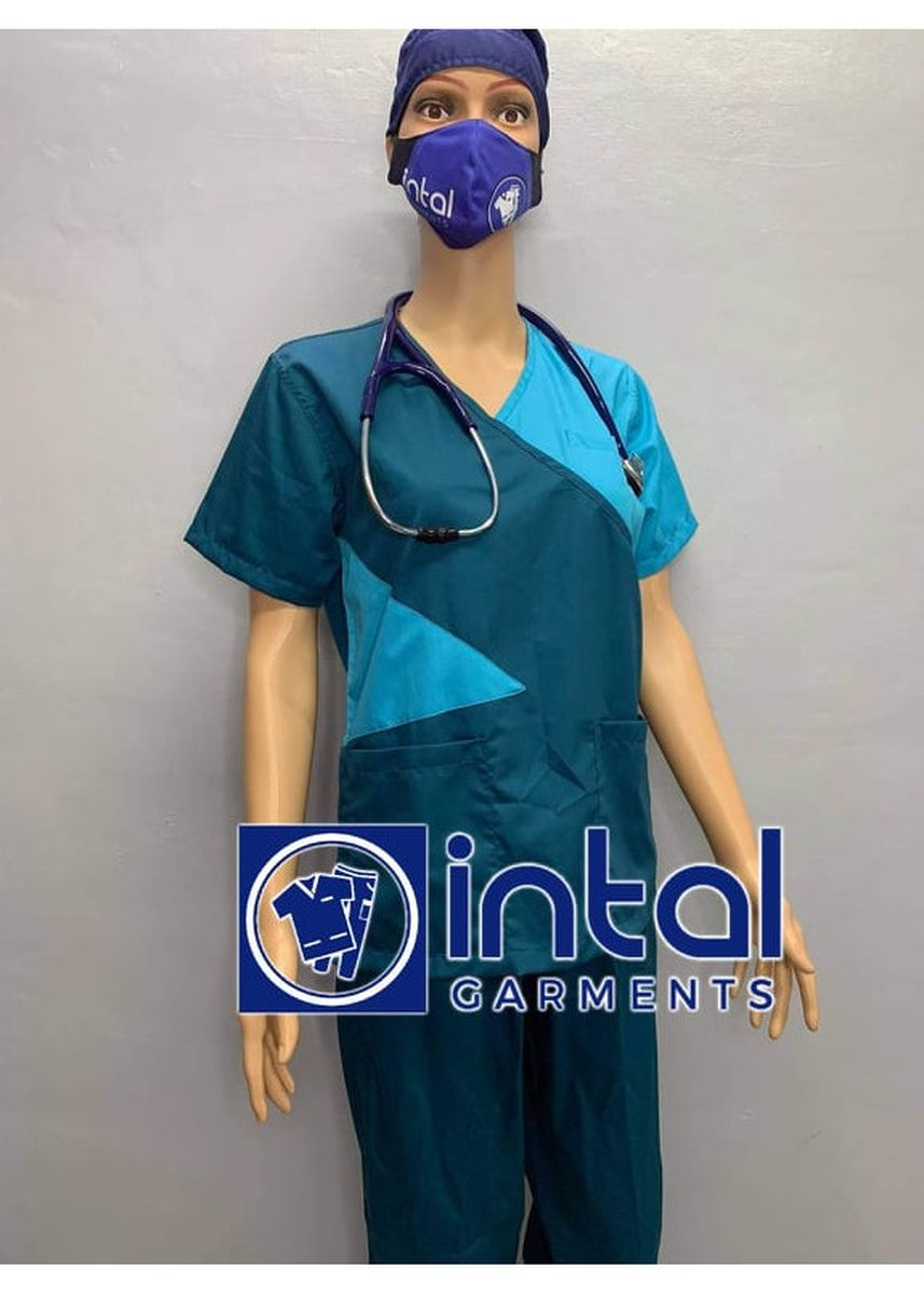 Blue color Tops and Tunics . SCRUB SUIT Medical Doctor Nurse Uniform High Quality Made SS011 Polycotton by Intal Garments Color Teal-Blue -