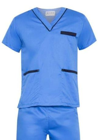 Blue color Tops and Tunics . SCRUB SUIT Medical Doctor Nurse Uniform High Quality Made SS02 Polycotton by Intal Garments Color Azure Blue-Midnight Blue -