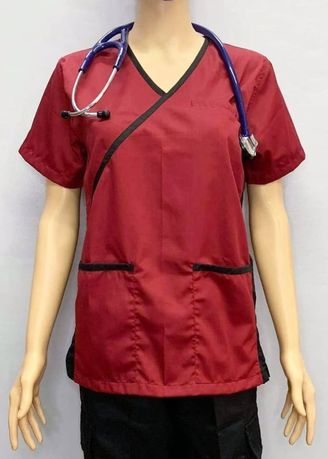 Red color Tops and Tunics . SCRUB SUIT Medical Doctor Nurse Uniform High Quality Made SS013 Polycotton JOGGER PANTS by Intal Garments Color Red-Black -
