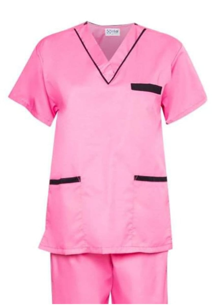 Pink color Tops and Tunics . SCRUB SUIT Medical Doctor Nurse Uniform High Quality Made SS02 Polycotton by Intal Garments Color Rose Pink - Black -