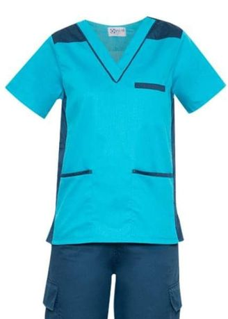 Blue color Tops and Tunics . SCRUB SUIT Medical Doctor Nurse Uniform High Quality Made SS09 Polycotton CARGO PANTS by Intal Garments Color Aqua Blue-Teal Blue -