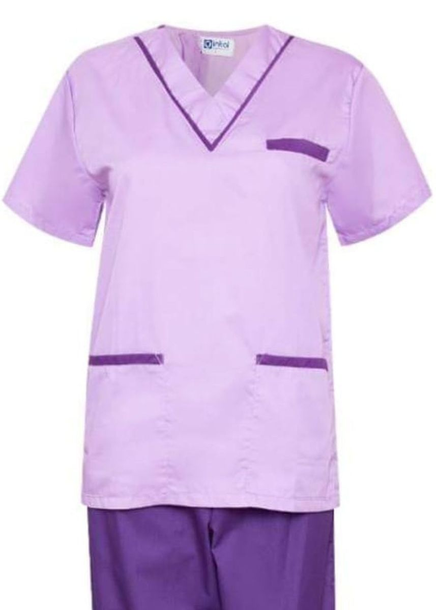 Violet color Tops and Tunics . SCRUB SUIT Medical Doctor Nurse Uniform High Quality Made SS02 Polycotton by Intal Garments Color Lilac - Violet -