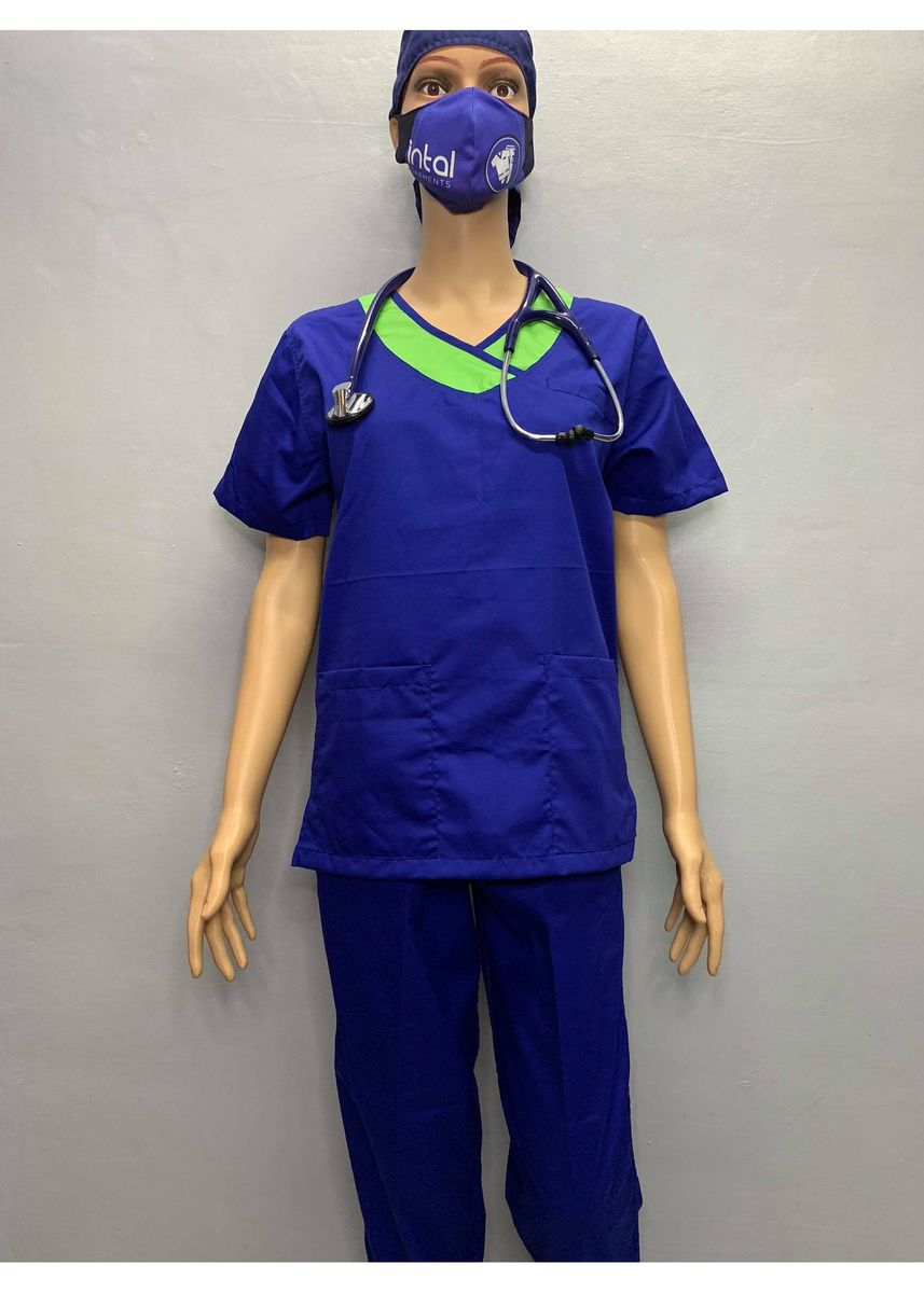 Blue color Tops and Tunics . SCRUB SUIT Medical Doctor Nurse Uniform JOGGER Pants High Quality Made SS14 Polycotton by Intal Garments Color Admiral Blue Kelly Green -