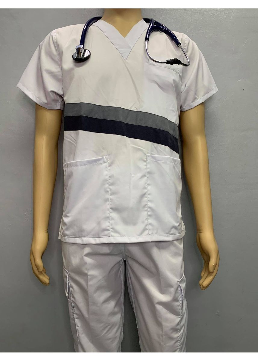 White color Casual Shirts . SCRUB SUIT Medical Doctor Nurse Uniform CARGO Pants High Quality Made SS15B Polycotton by Intal Garments Color White -
