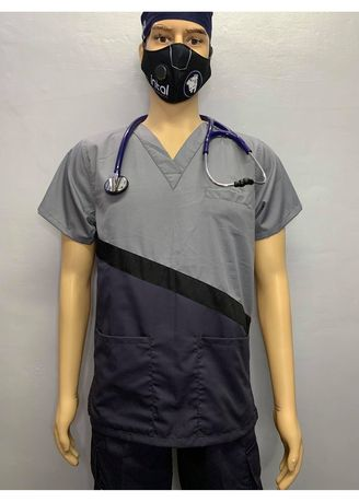 Light Grey color Casual Shirts . SCRUB SUIT Medical Doctor Nurse Uniform CARGO Pants High Quality Made SS15A Polycotton by Intal Garments Color Charcoal Grey Light Grey -