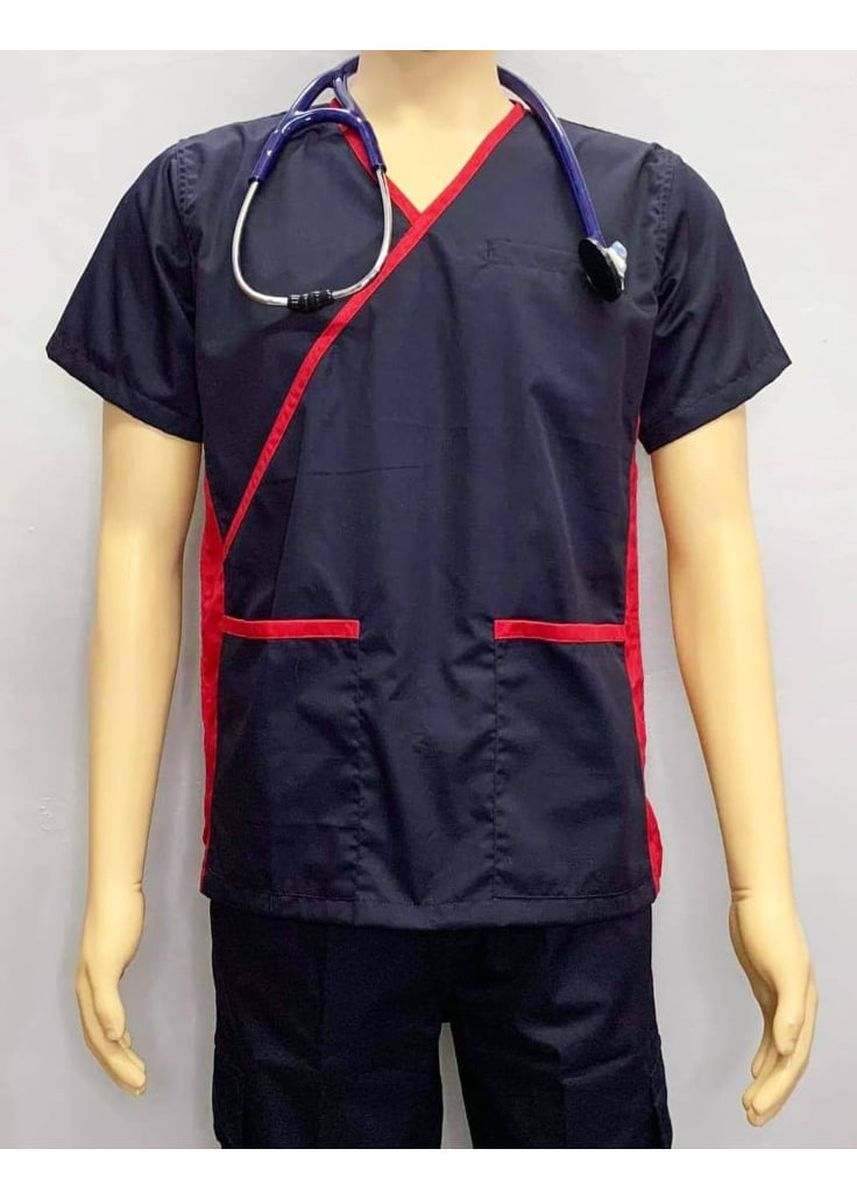 Blue color Casual Shirts . SCRUB SUIT Medical Doctor Nurse Uniform High Quality Made SS013 Polycotton JOGGER PANTS by Intal Garments Color Midnight Blue-Red -