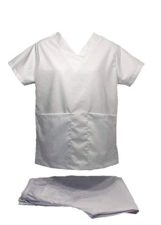 White color Casual Shirts . SCRUB SUIT Medical Doctor Nurse Uniform High Quality Made SS01A Polycotton by Intal Garments Color White -