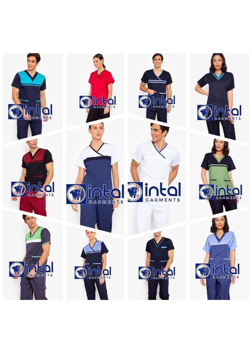 Blue color Casual Shirts . SCRUB SUIT Medical Doctor Nurse Uniform High Quality Made SS013 Polycotton JOGGER PANTS by Intal Garments Color Admiral Blue-Aqua Blue -