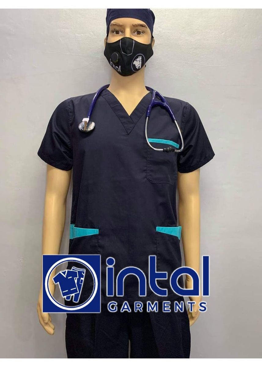 Blue color Casual Shirts . SCRUB SUIT Medical Doctor Nurse Uniform High Quality Made SS01B Jogger Pants Polycotton by Intal Garments Color Midnight Blue - Aqua Blue -