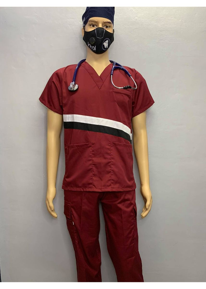 Maroon color Casual Shirts . SCRUB SUIT Medical Doctor Nurse Uniform CARGO Pants High Quality Made SS015B Polycotton by Intal Garments Color Maroon Black White -