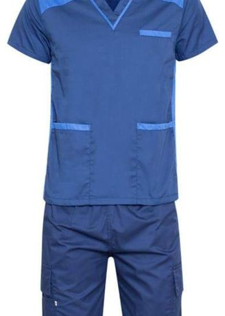 Blue color Casual Shirts . SCRUB SUIT Medical Doctor Nurse Uniform High Quality Made SS09 Polycotton CARGO PANTS by Intal Garments Color Oxford Blue-Azure Blue -