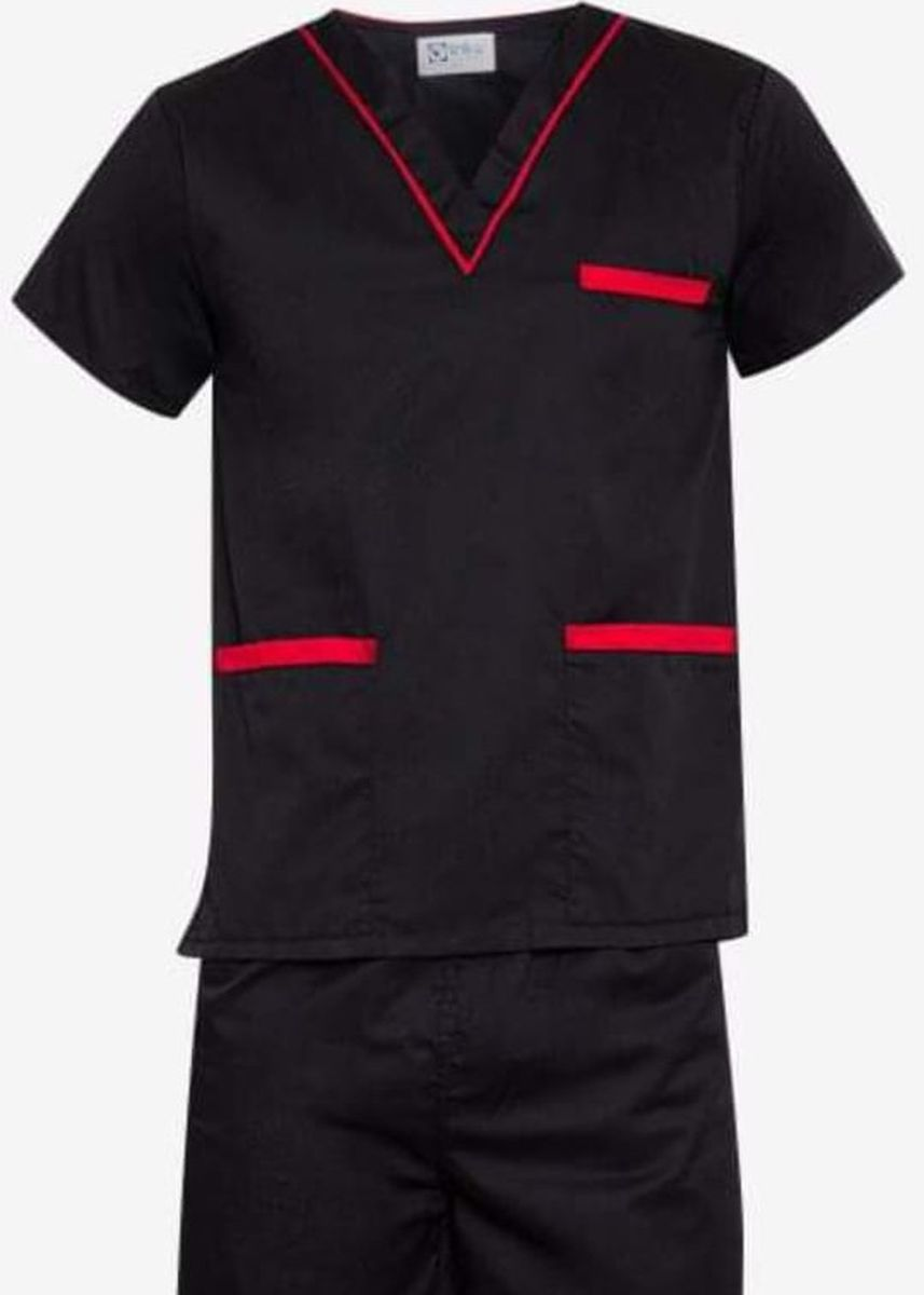 Black color Casual Shirts . SCRUB SUIT Medical Doctor Nurse Uniform High Quality Made SS02 Polycotton by Intal Garments Color Black -Red -