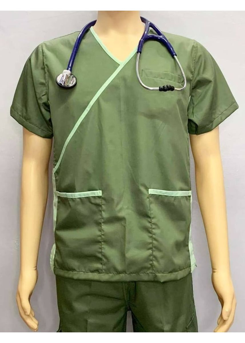 Green color Casual Shirts . SCRUB SUIT Medical Doctor Nurse Uniform High Quality Made SS013 Polycotton JOGGER PANTS by Intal Garments Color Army Green-Fern Green -