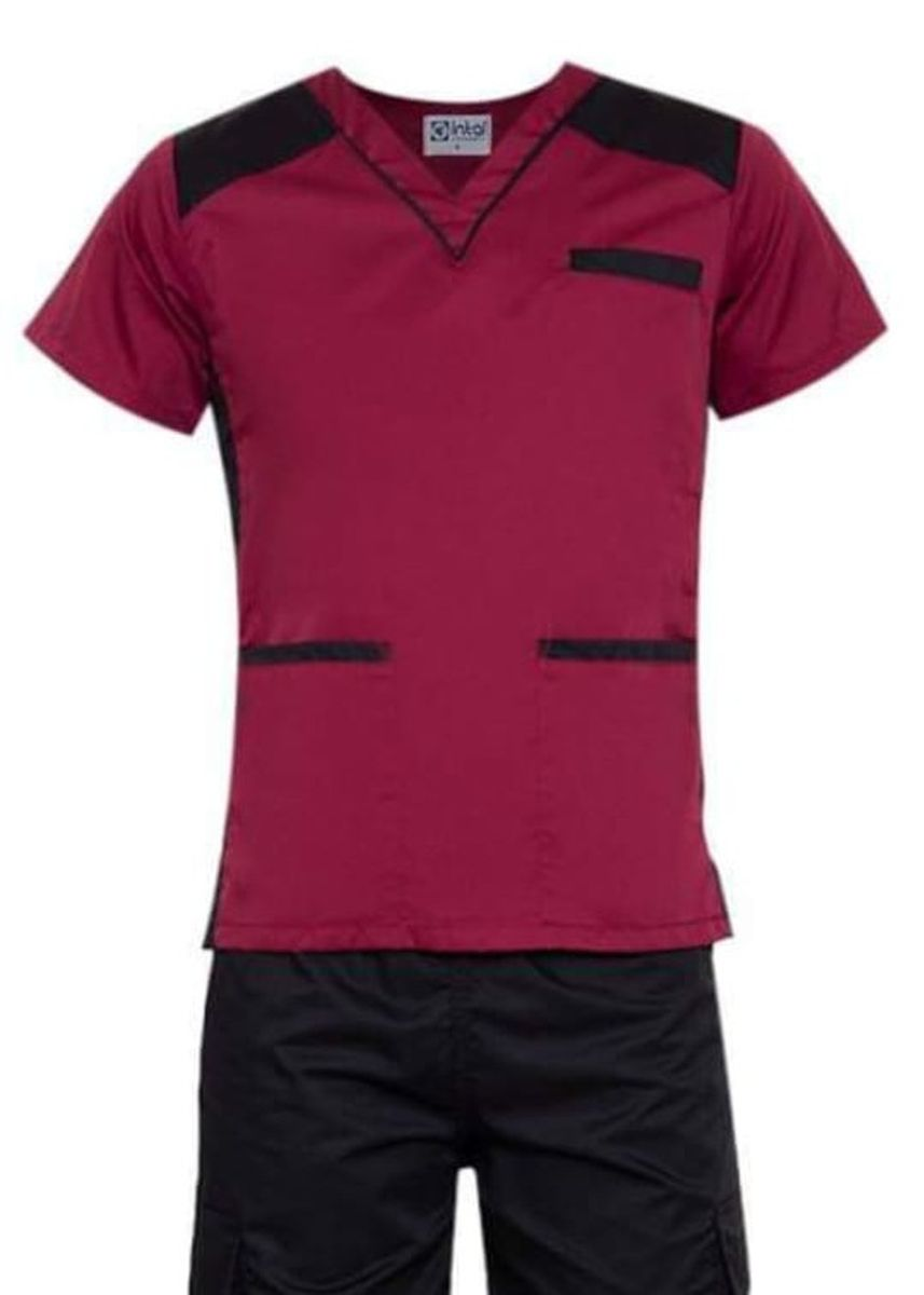 Maroon color Casual Shirts . SCRUB SUIT Medical Doctor Nurse Uniform High Quality Made SS09 Polycotton CARGO PANTS by Intal Garments Color Maroon-Black -