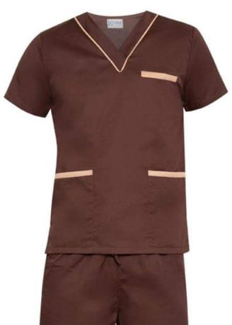 Brown color Casual Shirts . SCRUB SUIT Medical Doctor Nurse Uniform High Quality Made SS02 Polycotton by Intal Garments Color Chocolate Brown-Tortilla Brown -