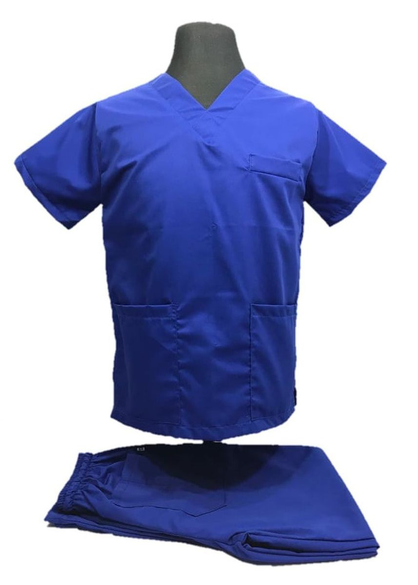 Blue color Casual Shirts . SCRUB SUIT Medical Doctor Nurse Uniform High Quality Made SS01A Polycotton by Intal Garments Color Admiral Blue -