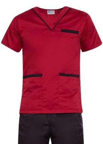 Red color Casual Shirts . SCRUB SUIT Medical Doctor Nurse Uniform High Quality Made SS02 Polycotton by Intal Garments Color Red-Black -