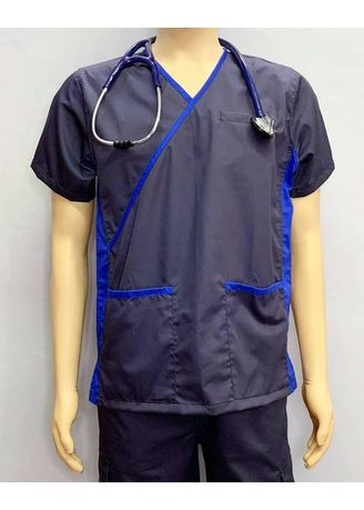 Blue color Casual Shirts . SCRUB SUIT Medical Doctor Nurse Uniform High Quality Made SS013 Polycotton JOGGER PANTS by Intal Garments Color Midnight Blue-Admiral Blue -
