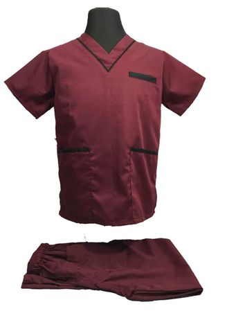 Maroon color Casual Shirts . SCRUB SUIT Medical Doctor Nurse Uniform High Quality Made SS02 Polycotton by Intal Garments Color Maroon - Black -