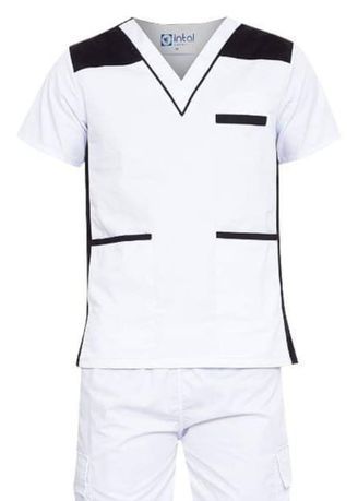 White color Casual Shirts . SCRUB SUIT Medical Doctor Nurse Uniform High Quality Made SS09 Polycotton CARGO PANTS by Intal Garments Color White-Black -
