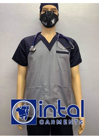 Grey color Casual Shirts . SCRUB SUIT Medical Doctor Nurse Uniform High Quality Made SS05 Polycotton by Intal Garments Color Light Grey - Midnight Blue -
