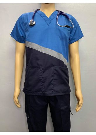 Blue color Casual Shirts . SCRUB SUIT Medical Doctor Nurse Uniform CARGO Pants High Quality Made SS15B Polycotton by Intal Garments Color Midnight Blue Sapphire Blue -