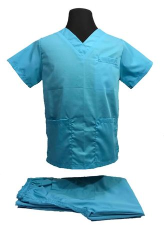 Blue color Casual Shirts . SCRUB SUIT Medical Doctor Nurse Uniform High Quality Made SS01A Polycotton by Intal Garments Color Cyan Blue -