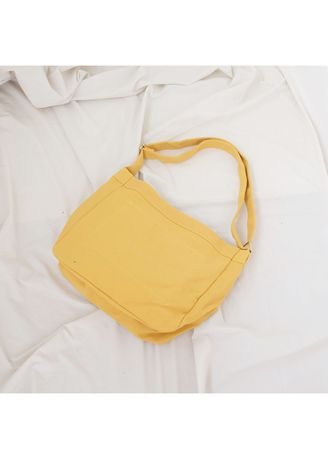 Yellow color Sling Bags . More584 Tas Selempag Kanvas Unisex Polos Canvas Slingbag -