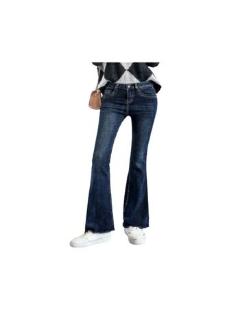 Blue color Jeans . Lake Blue Flared Jeans Straight Rongchang Pants -