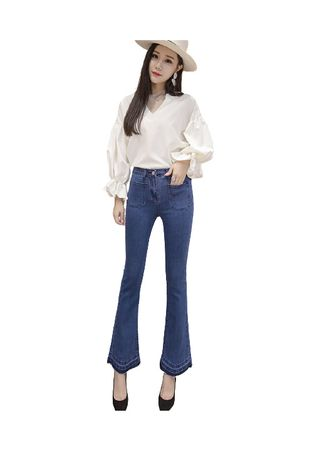 Blue color Jeans . Jeans Trousers Of Female Speakers -
